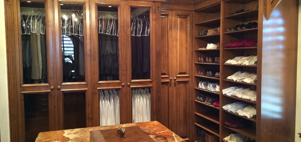 Cherry bedroom cabinets with glass doors