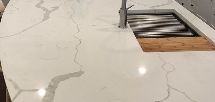white quartz kitchen island